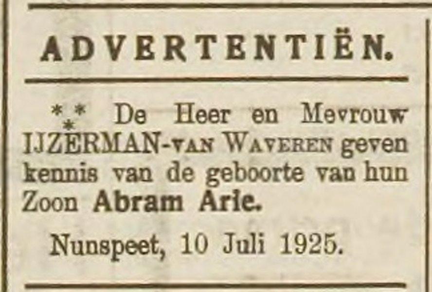1925 7 18 nab Geboorte advertentie Bram.jpg